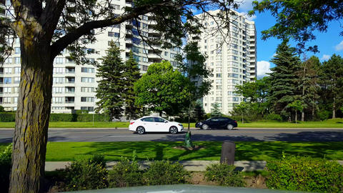 Side View of City Traffic Driving By Lush Green Trees. Urban Landscape With Car Vehicles in Summer Footage
