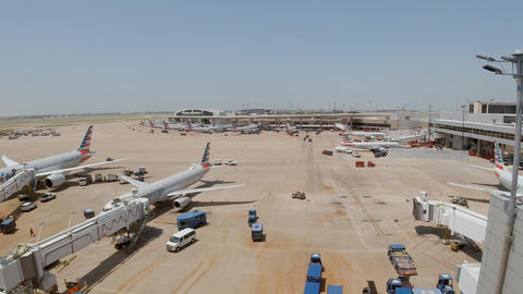 Dallas Fort Worth Airport airfield - DALLAS, USA - JUNE 20, 2019 Footage