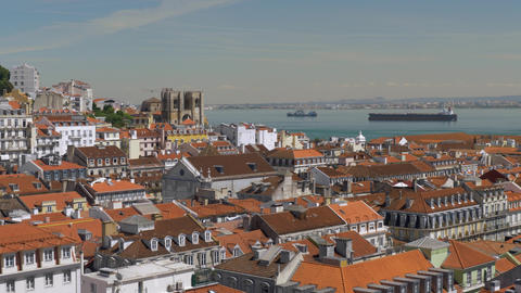 Cityscape of with Lisbon architecture and river, Portugal Footage