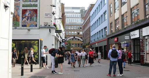 Crowd Of People Walking On Carnaby Street London Footage