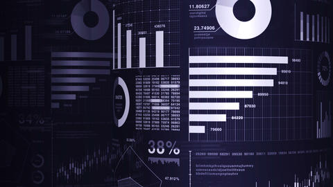 Financial bar charts and growing graphs. Business infographics with depth of field on dark blue Animation