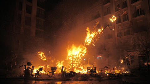 Final event La Crema on Fallas festival. Fire destroying the construction Footage