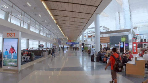 Departure Gates at Dallas Fort Worth Airport - DALLAS, USA - JUNE 20, 2019 Footage