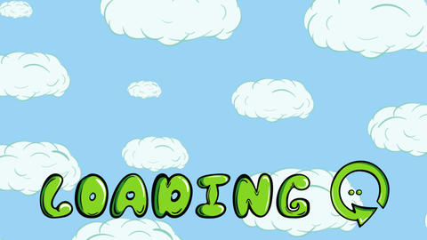 Green loading inscription and clouds Animation