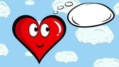 Heart character and clouds sky Animation