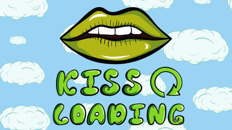 Colorful kiss loading sky background Animation