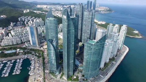 Aerial View of Marine City and Haeundae Beach, Busan, South Korea, Asia Footage