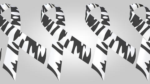 Rare-disease awareness zebra-print ribbons. Loopable motion background Live Action