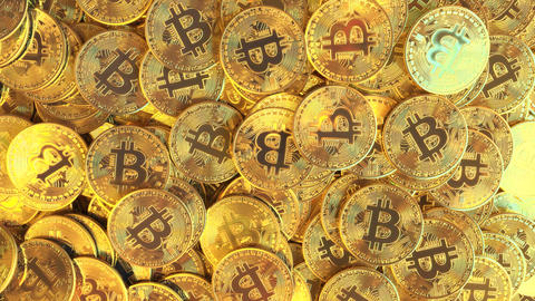 A pile of shiny golden bitcoin tokens or coins, top down view. Cryptocurrency Live Action