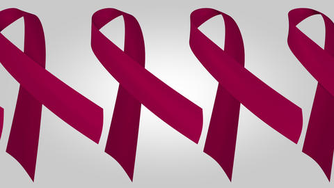 Multiple myeloma awareness maroon ribbons. Loopable motion background Footage
