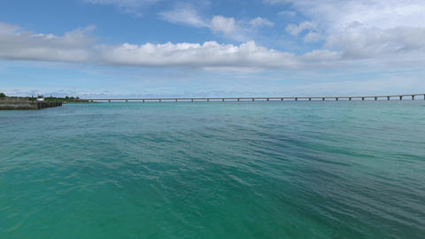 Miyako island, Japan-June 26, 2019: Kurima bridge viewed from Yonaha Maehama beach Footage