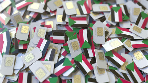 Many SIM cards with flag of Sudan, Sudanese mobile telecommunications related 3D ビデオ
