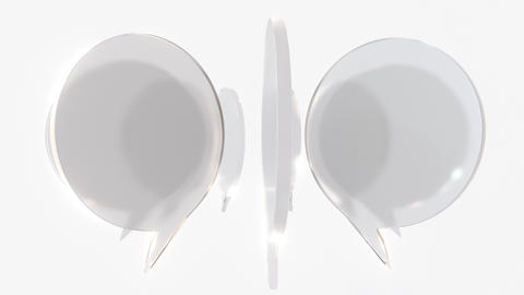 Frosted glass word balloons. Communication related loopable 3D animation Footage