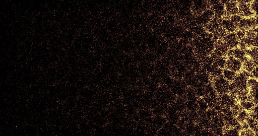 abstract gold multi particles wave movement tv film transition on black background, golden show Live Action