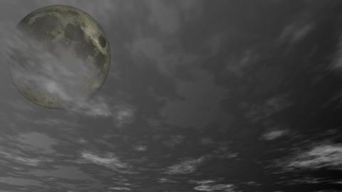 満月と流れる雲 CG動画