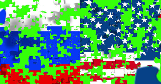 half flags of united states of america and half russian flag with puzzle pieces background falling Live Action
