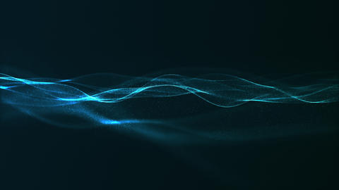 Abstract digital blue color wave with flowing small particles dance motion on wave and light Animation