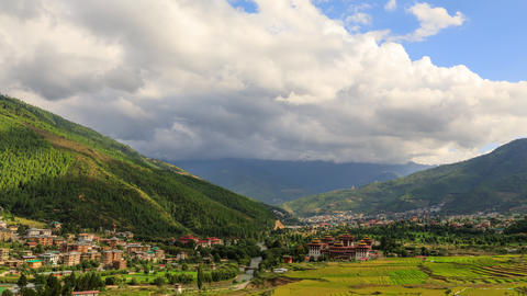 Time Lapse Of The City Of Thumphu. Capital Of Bhutan Live Action