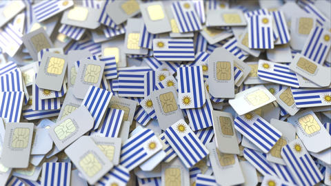 Multiple SIM cards with flag of Uruguay. Uruguayan mobile telecommunications ビデオ