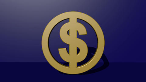 3d American dollar symbol in golden design rotating in vertical direction on Animation