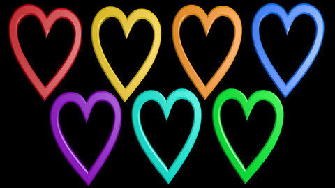 Cute animation with rainbow hearts on black background Animation