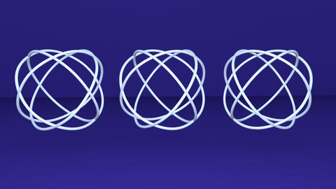 Three metallic silver sphere knotes, abstract animation, logotype rotating on Animation