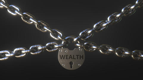 WEALTH word on a padlock holding metal chains. Conceptual 3D animation Live Action
