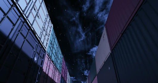 Shipping containers under midnight sky seamless loop Animation