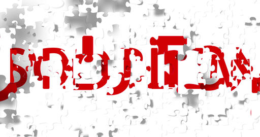 red word with problem writing on white pieces puzzle composition background, replace with red word Live Action