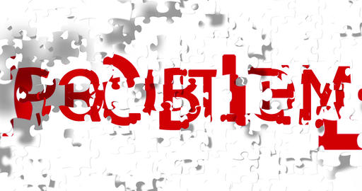 red word with solution writing on white pieces puzzle composition background, replace with red word Footage