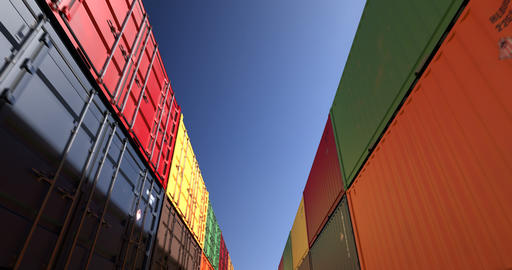 Rows of shipping containers under clear sky seamless loop Animation