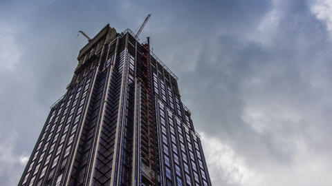 Corporate Buildings Under Construction, Blue Sky, and Clouds Footage