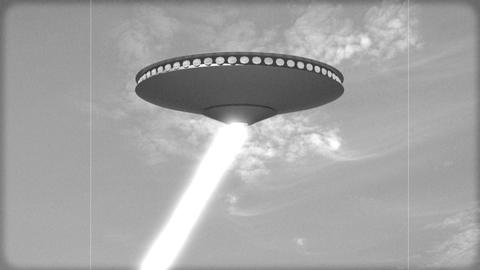 Vintage Alien Invasion: A UFO fires death rays.(Black and White) Animation