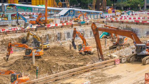 Time Lapse of Construction Excavators and Other Heavy Machinery Footage