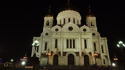 Christ the Saviou temple at night, panning shot from ground level Footage