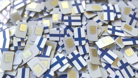 SIM cards with flag of Finland. Finnish cellular network related conceptual 3D ビデオ