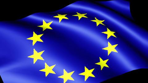 European flag EU CG Wind Animation