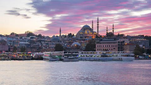 Istanbul city skyline with Bosphorus and the Sea of Marmara day to night time lapse in Istanbul, Footage