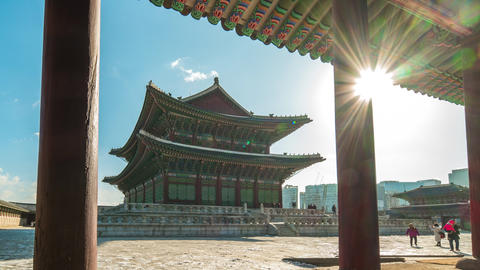 Gyeongbokgung Palace with Seoul skyline in Seoul city, South Korea time lapse Live Action