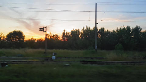 The view from the train on the beautiful scenery with hills and forest before Footage