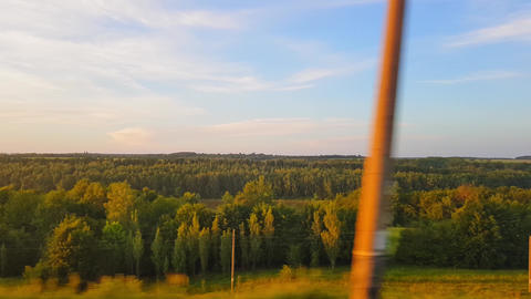 The view from the train on the beautiful scenery with hills and forest before Live Action