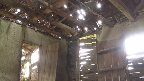 Interior of old and abandoned house, ceiling, door and window Footage
