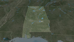 Alabama - state of the United States. Satellite Animation