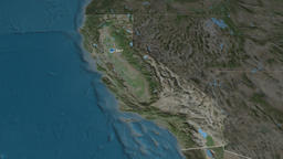 California - state of the United States. Satellite Animation