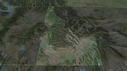 Idaho - state of the United States. Satellite Animation