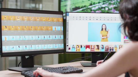 Professional female photographer uses a pro editing software Live Action