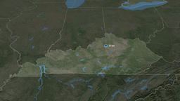 Kentucky - state of the United States. Satellite Animation
