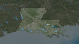 Louisiana - state of the United States. Satellite Animation