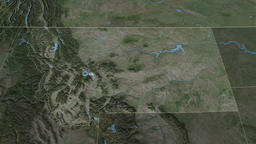 Montana - state of the United States. Satellite Animation