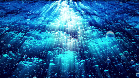 Water FX0326: Underwater ocean waves ripple as bubbles rise Animation